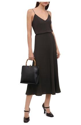 Женские кожаные туфли mary jane THE ROW темно-коричневого цвета, арт. F1195-L35 | Фото 2