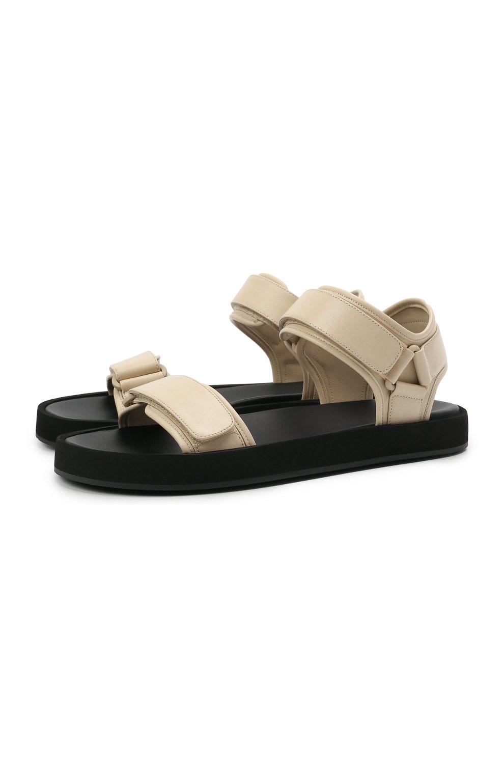 Женские кожаные сандалии THE ROW кремвого цвета, арт. F1206-N60 | Фото 1 (Подошва: Платформа; Материал внутренний: Натуральная кожа)