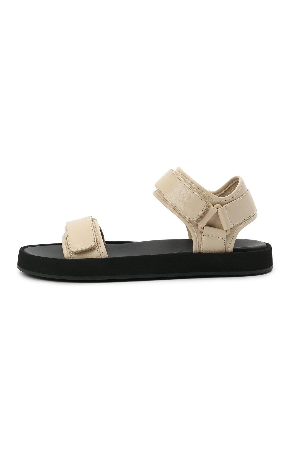 Женские кожаные сандалии THE ROW кремвого цвета, арт. F1206-N60 | Фото 3 (Подошва: Платформа; Материал внутренний: Натуральная кожа)