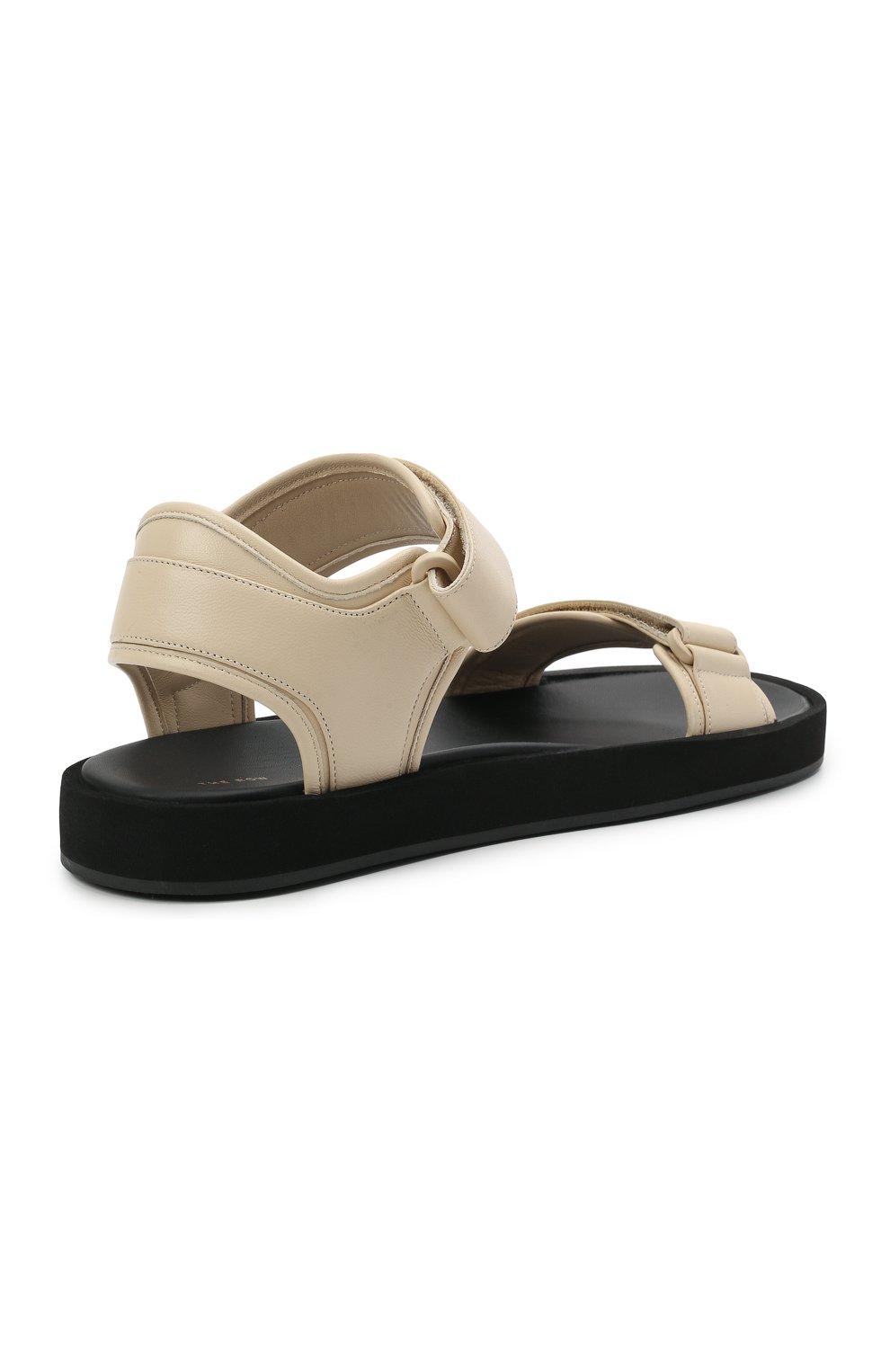 Женские кожаные сандалии THE ROW кремвого цвета, арт. F1206-N60 | Фото 4 (Подошва: Платформа; Материал внутренний: Натуральная кожа)