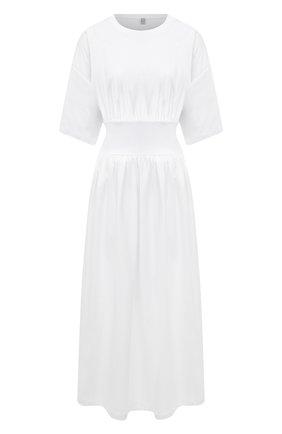 Женское хлопковое платье TOTÊME белого цвета, арт. 213-654-770 | Фото 1