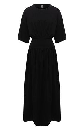 Женское хлопковое платье TOTÊME черного цвета, арт. 213-654-770 | Фото 1
