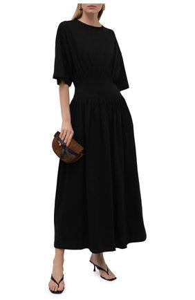 Женское хлопковое платье TOTÊME черного цвета, арт. 213-654-770 | Фото 2