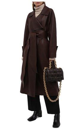Женское кожаное пальто THE ROW темно-коричневого цвета, арт. 5601L211 | Фото 2