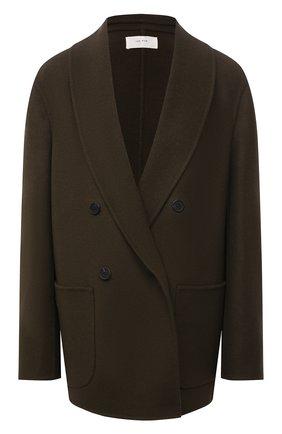 Женское кашемировое пальто THE ROW хаки цвета, арт. 5611W1959 | Фото 1 (Материал подклада: Шелк; Рукава: Длинные; Материал внешний: Шерсть, Кашемир; Длина (верхняя одежда): Короткие; Стили: Кэжуэл; 1-2-бортные: Двубортные)