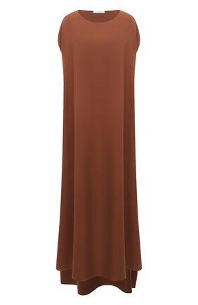 Женское шелковое платье THE ROW коричневого цвета, арт. 5620W2055 | Фото 1 (Материал внешний: Шелк; Длина Ж (юбки, платья, шорты): Миди; Рукава: Короткие; Женское Кросс-КТ: Платье-одежда; Случай: Повседневный; Стили: Кэжуэл)