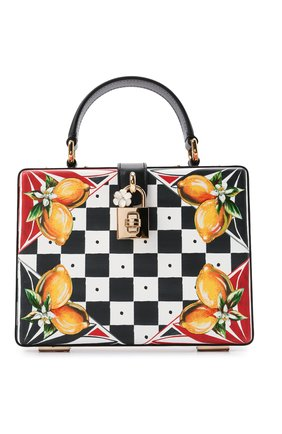 Женская сумка dolce box DOLCE & GABBANA черно-белого цвета, арт. BB5970/AX037   Фото 1 (Материал: Натуральная кожа; Ремень/цепочка: На ремешке; Размер: mini; Сумки-технические: Сумки top-handle, Сумки через плечо)