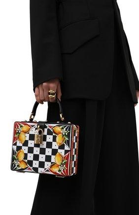 Женская сумка dolce box DOLCE & GABBANA черно-белого цвета, арт. BB5970/AX037   Фото 2 (Материал: Натуральная кожа; Ремень/цепочка: На ремешке; Размер: mini; Сумки-технические: Сумки top-handle, Сумки через плечо)