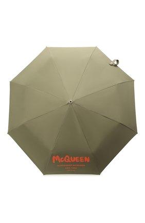 Женский зонт ALEXANDER MCQUEEN хаки цвета, арт. 668707/3A71Q   Фото 1 (Материал: Текстиль, Синтетический материал)