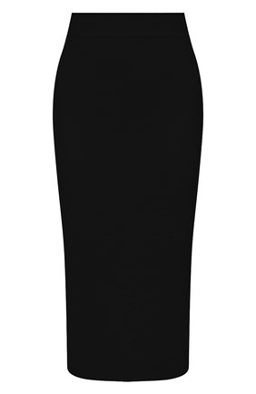 Женская юбка из вискозы ALEXANDER MCQUEEN черного цвета, арт. 667773/Q1AVB   Фото 1 (Женское Кросс-КТ: Юбка-одежда, Юбка-карандаш; Стили: Кэжуэл; Материал внешний: Вискоза; Кросс-КТ: Трикотаж; Длина Ж (юбки, платья, шорты): До колена)