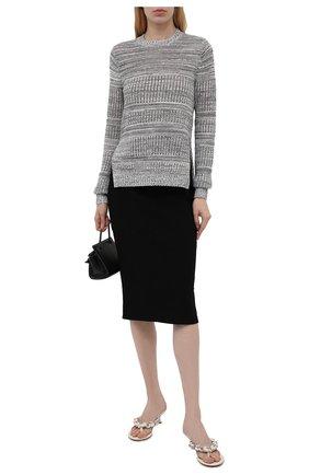Женская юбка из вискозы ALEXANDER MCQUEEN черного цвета, арт. 667773/Q1AVB   Фото 2 (Женское Кросс-КТ: Юбка-одежда, Юбка-карандаш; Стили: Кэжуэл; Материал внешний: Вискоза; Кросс-КТ: Трикотаж; Длина Ж (юбки, платья, шорты): До колена)