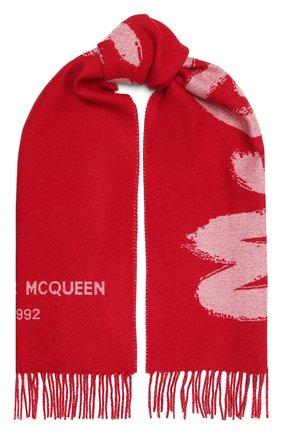 Женский шерстяной шарф ALEXANDER MCQUEEN красного цвета, арт. 665288/3200Q   Фото 1 (Материал: Шерсть)