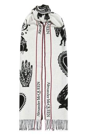 Женский шарф из шерсти и кашемира ALEXANDER MCQUEEN черно-белого цвета, арт. 665281/3D46Q | Фото 1 (Материал: Шерсть)