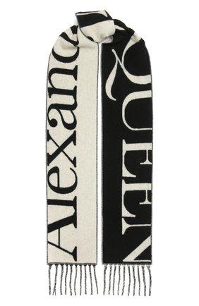 Женский кашемировый шарф ALEXANDER MCQUEEN черно-белого цвета, арт. 663964/3201Q | Фото 1 (Материал: Кашемир, Шерсть)