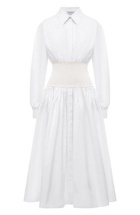 Женское хлопковое платье ALEXANDER MCQUEEN белого цвета, арт. 661546/QAAAY   Фото 1 (Длина Ж (юбки, платья, шорты): Миди; Рукава: Длинные; Материал внешний: Хлопок; Женское Кросс-КТ: Платье-одежда; Случай: Повседневный; Стили: Бохо)