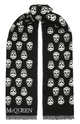 Женский шерстяной шарф ALEXANDER MCQUEEN черно-белого цвета, арт. 624425/3200Q | Фото 1 (Материал: Шерсть)