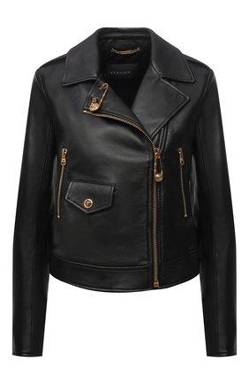 Женская кожаная куртка VERSACE черного цвета, арт. A85480/A233389 | Фото 1