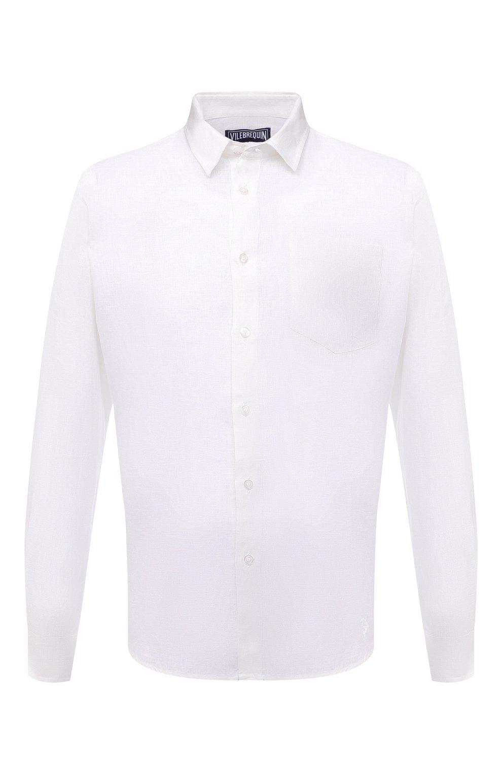 Мужская льняная рубашка VILEBREQUIN белого цвета, арт. CRSP601P/010   Фото 1 (Манжеты: На пуговицах; Воротник: Кент; Рукава: Длинные; Случай: Повседневный; Длина (для топов): Стандартные; Материал внешний: Лен; Принт: Однотонные; Стили: Кэжуэл)