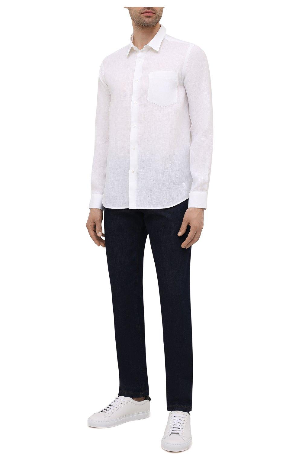 Мужская льняная рубашка VILEBREQUIN белого цвета, арт. CRSP601P/010   Фото 2 (Манжеты: На пуговицах; Воротник: Кент; Рукава: Длинные; Случай: Повседневный; Длина (для топов): Стандартные; Материал внешний: Лен; Принт: Однотонные; Стили: Кэжуэл)
