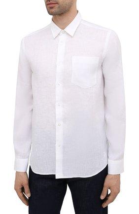 Мужская льняная рубашка VILEBREQUIN белого цвета, арт. CRSP601P/010   Фото 3 (Манжеты: На пуговицах; Воротник: Кент; Рукава: Длинные; Случай: Повседневный; Длина (для топов): Стандартные; Материал внешний: Лен; Принт: Однотонные; Стили: Кэжуэл)