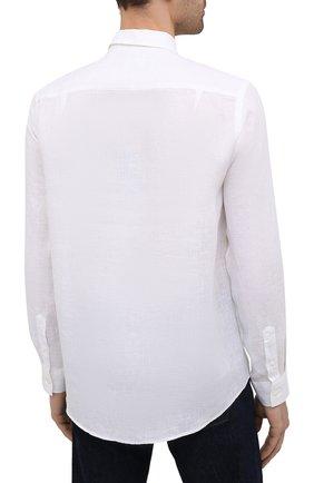 Мужская льняная рубашка VILEBREQUIN белого цвета, арт. CRSP601P/010   Фото 4 (Манжеты: На пуговицах; Воротник: Кент; Рукава: Длинные; Случай: Повседневный; Длина (для топов): Стандартные; Материал внешний: Лен; Принт: Однотонные; Стили: Кэжуэл)