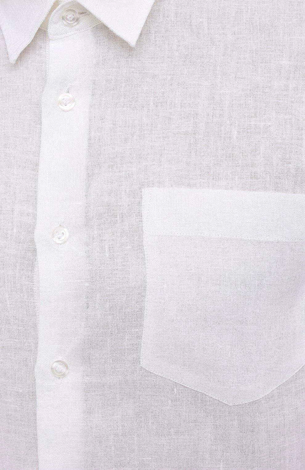 Мужская льняная рубашка VILEBREQUIN белого цвета, арт. CRSP601P/010   Фото 5 (Манжеты: На пуговицах; Воротник: Кент; Рукава: Длинные; Случай: Повседневный; Длина (для топов): Стандартные; Материал внешний: Лен; Принт: Однотонные; Стили: Кэжуэл)