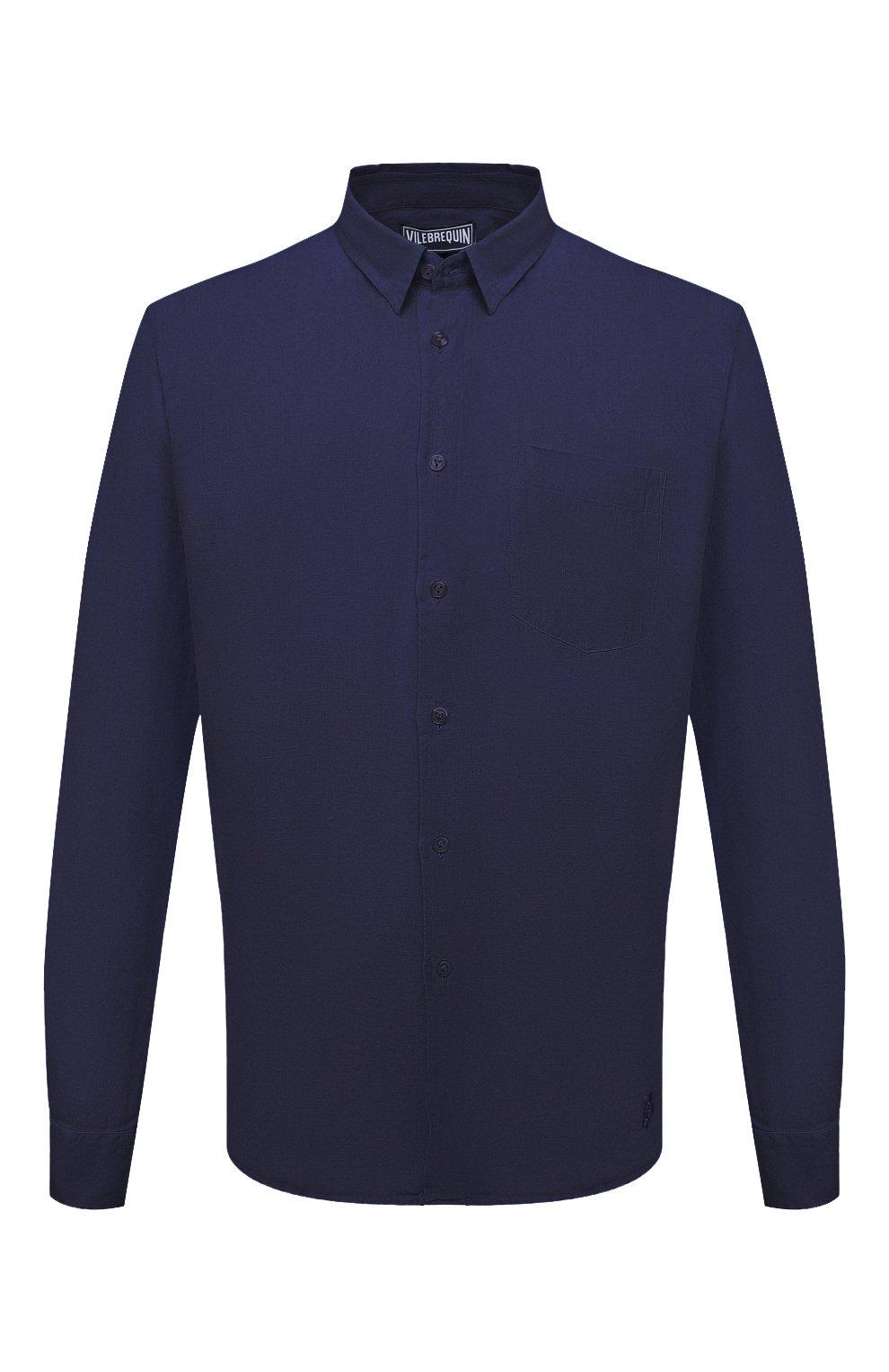 Мужская льняная рубашка VILEBREQUIN темно-синего цвета, арт. CRSP601P/390   Фото 1 (Воротник: Кент; Рукава: Длинные; Случай: Повседневный; Длина (для топов): Стандартные; Материал внешний: Лен; Стили: Кэжуэл)