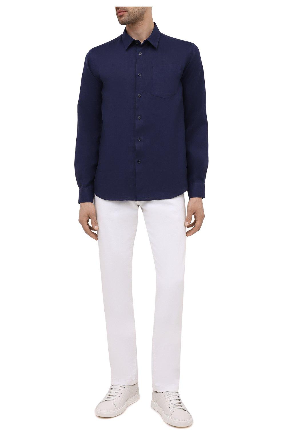 Мужская льняная рубашка VILEBREQUIN темно-синего цвета, арт. CRSP601P/390   Фото 2 (Воротник: Кент; Рукава: Длинные; Случай: Повседневный; Длина (для топов): Стандартные; Материал внешний: Лен; Стили: Кэжуэл)