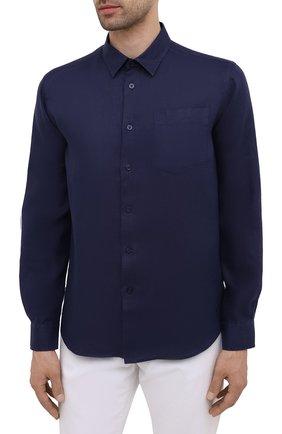Мужская льняная рубашка VILEBREQUIN темно-синего цвета, арт. CRSP601P/390   Фото 3 (Воротник: Кент; Рукава: Длинные; Случай: Повседневный; Длина (для топов): Стандартные; Материал внешний: Лен; Стили: Кэжуэл)
