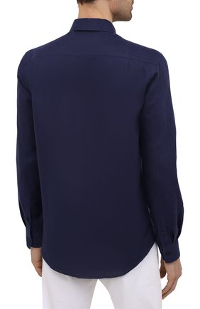 Мужская льняная рубашка VILEBREQUIN темно-синего цвета, арт. CRSP601P/390   Фото 4 (Воротник: Кент; Рукава: Длинные; Случай: Повседневный; Длина (для топов): Стандартные; Материал внешний: Лен; Стили: Кэжуэл)