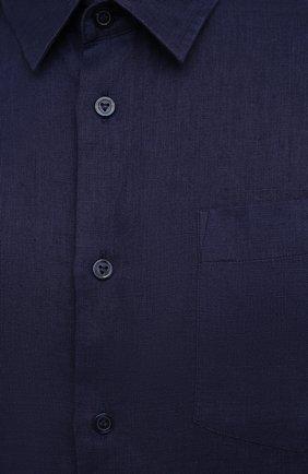 Мужская льняная рубашка VILEBREQUIN темно-синего цвета, арт. CRSP601P/390   Фото 5 (Воротник: Кент; Рукава: Длинные; Случай: Повседневный; Длина (для топов): Стандартные; Материал внешний: Лен; Стили: Кэжуэл)