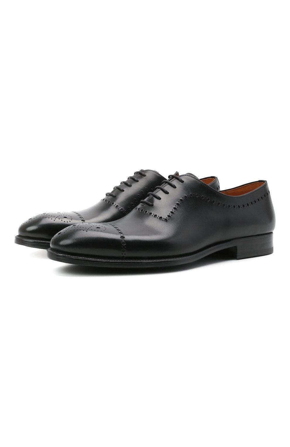 Мужские кожаные оксфорды MAGNANNI черного цвета, арт. 18265/WIND | Фото 1 (Мужское Кросс-КТ: Броги-обувь; Материал внутренний: Натуральная кожа; Стили: Классический)