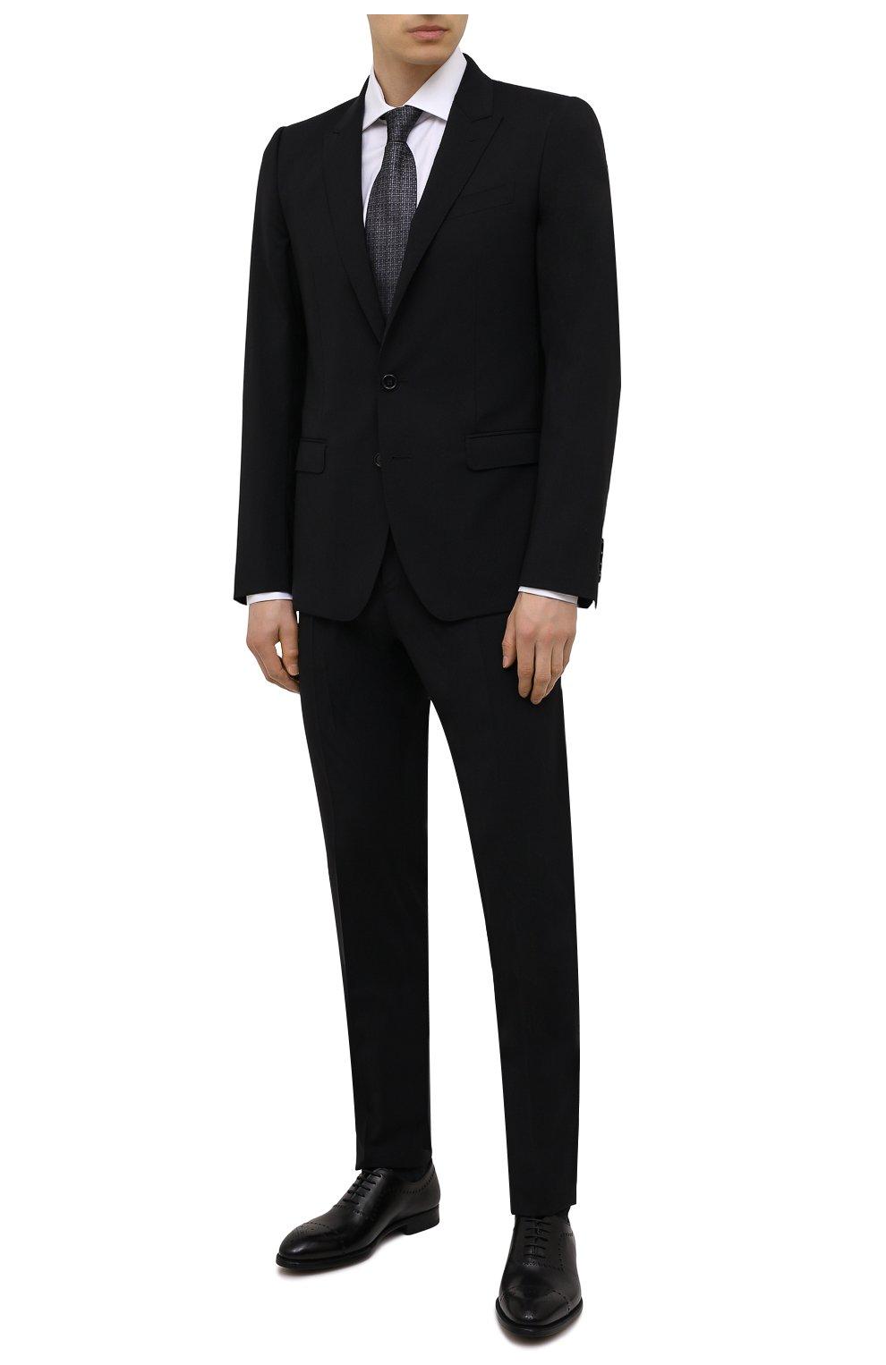 Мужские кожаные оксфорды MAGNANNI черного цвета, арт. 18265/WIND | Фото 2 (Мужское Кросс-КТ: Броги-обувь; Материал внутренний: Натуральная кожа; Стили: Классический)