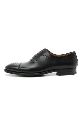 Мужские кожаные оксфорды MAGNANNI черного цвета, арт. 18265/WIND | Фото 3 (Мужское Кросс-КТ: Броги-обувь; Материал внутренний: Натуральная кожа; Стили: Классический)