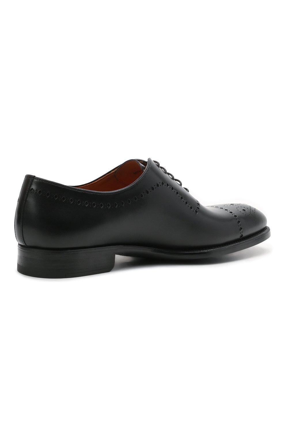Мужские кожаные оксфорды MAGNANNI черного цвета, арт. 18265/WIND | Фото 4 (Мужское Кросс-КТ: Броги-обувь; Материал внутренний: Натуральная кожа; Стили: Классический)