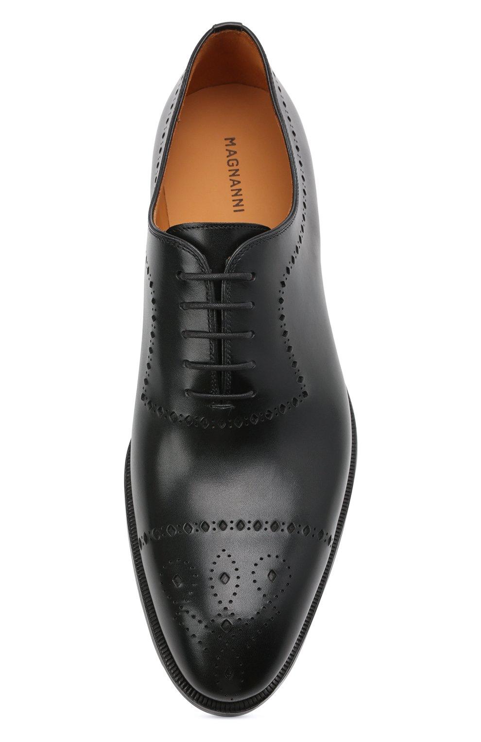Мужские кожаные оксфорды MAGNANNI черного цвета, арт. 18265/WIND | Фото 5 (Мужское Кросс-КТ: Броги-обувь; Материал внутренний: Натуральная кожа; Стили: Классический)