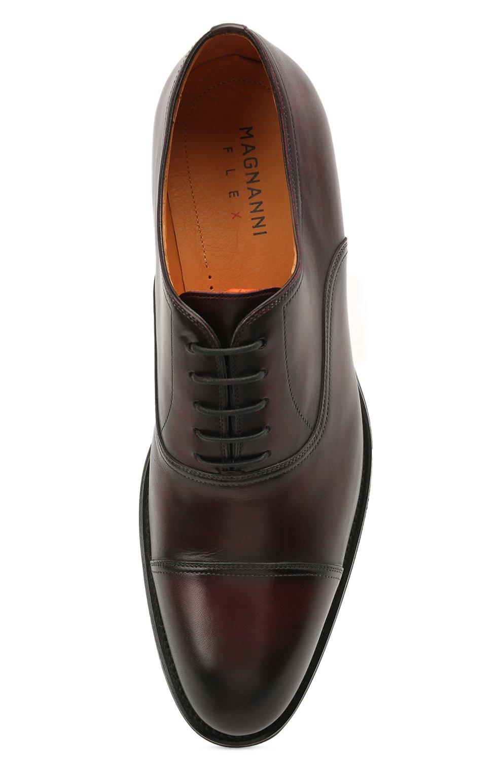 Мужские кожаные оксфорды MAGNANNI бордового цвета, арт. 21252/B0LTIARCADE   Фото 5 (Материал внутренний: Натуральная кожа; Стили: Классический)