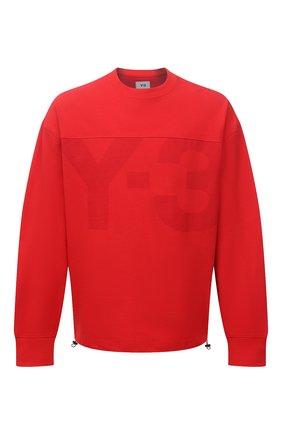 Мужской свитшот из хлопка и льна Y-3 красного цвета, арт. GV4209/M | Фото 1 (Материал внешний: Хлопок; Длина (для топов): Стандартные; Рукава: Длинные; Мужское Кросс-КТ: свитшот-одежда; Принт: С принтом; Стили: Спорт-шик)
