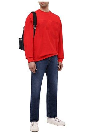 Мужской свитшот из хлопка и льна Y-3 красного цвета, арт. GV4209/M | Фото 2 (Материал внешний: Хлопок; Длина (для топов): Стандартные; Рукава: Длинные; Мужское Кросс-КТ: свитшот-одежда; Принт: С принтом; Стили: Спорт-шик)