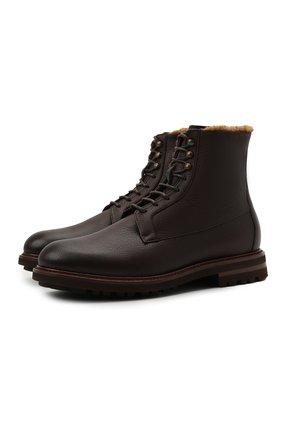 Мужские кожаные ботинки BRUNELLO CUCINELLI темно-коричневого цвета, арт. MZUCRMM893 | Фото 1 (Материал внутренний: Натуральная кожа; Подошва: Плоская; Мужское Кросс-КТ: зимние ботинки, Ботинки-обувь; Материал утеплителя: Натуральный мех)
