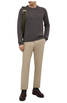 Мужские кожаные ботинки BRUNELLO CUCINELLI темно-коричневого цвета, арт. MZUCRMM893 | Фото 2 (Материал внутренний: Натуральная кожа; Подошва: Плоская; Мужское Кросс-КТ: зимние ботинки, Ботинки-обувь; Материал утеплителя: Натуральный мех)