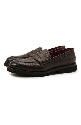 Мужские кожаные пенни-лоферы BARRETT темно-коричневого цвета, арт. 191U048.32/RAM0N | Фото 1 (Материал внутренний: Натуральная кожа; Мужское Кросс-КТ: Лоферы-обувь; Стили: Классический)