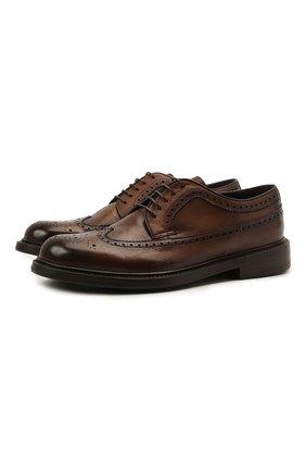 Мужские кожаные дерби BARRETT коричневого цвета, арт. 202U038.5/RIX0N | Фото 1 (Материал внутренний: Натуральная кожа; Стили: Классический; Мужское Кросс-КТ: Броги-обувь)