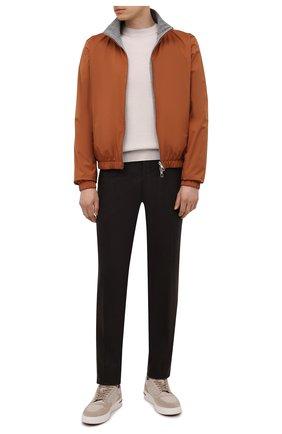 Мужские брюки из шерсти и кашемира MARCO PESCAROLO темно-коричневого цвета, арт. SLIM80/ZIP/4431 | Фото 2