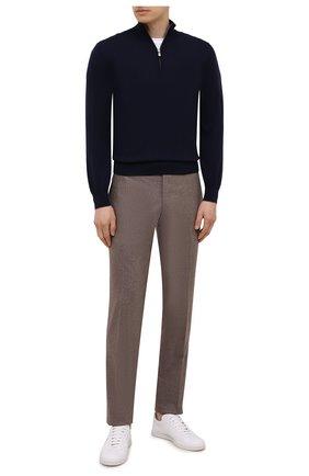 Мужские брюки из шерсти и кашемира MARCO PESCAROLO светло-коричневого цвета, арт. SLIM80/ZIP/4431 | Фото 2