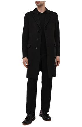 Мужской пальто из шерсти и кашемира GIORGIO ARMANI темно-коричневого цвета, арт. 1WG0L07G/T00BU | Фото 2 (Материал подклада: Синтетический материал; Рукава: Длинные; Материал внешний: Шерсть; Мужское Кросс-КТ: пальто-верхняя одежда; Стили: Классический; Длина (верхняя одежда): До середины бедра)