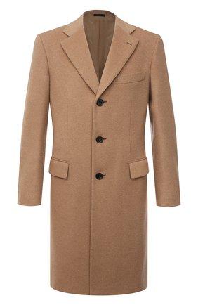 Мужской шерстяное пальто BRIONI бежевого цвета, арт. R07N0N/07333 | Фото 1 (Материал внешний: Шерсть; Длина (верхняя одежда): До колена; Рукава: Длинные; Стили: Кэжуэл; Материал подклада: Купро; Мужское Кросс-КТ: пальто-верхняя одежда)