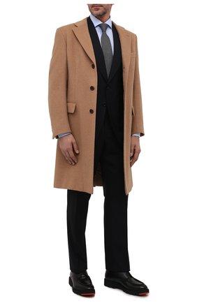 Мужской шерстяное пальто BRIONI бежевого цвета, арт. R07N0N/07333 | Фото 2 (Материал внешний: Шерсть; Длина (верхняя одежда): До колена; Рукава: Длинные; Стили: Кэжуэл; Материал подклада: Купро; Мужское Кросс-КТ: пальто-верхняя одежда)