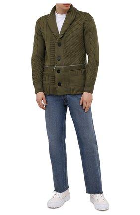 Мужской шерстяной кардиган ALEXANDER MCQUEEN хаки цвета, арт. 651190/Q1XBC | Фото 2 (Материал внешний: Шерсть; Длина (для топов): Стандартные; Стили: Кэжуэл; Рукава: Длинные; Мужское Кросс-КТ: Кардиган-одежда)