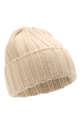 Мужская кашемировая шапка JOHNSTONS OF ELGIN светло-бежевого цвета, арт. HAC02657 | Фото 1 (Материал: Кашемир, Шерсть; Кросс-КТ: Трикотаж)